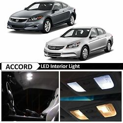 Full White Interior LED Lights Bulbs Kit Fits 2003 2012 Honda Accord Coupe Sedan