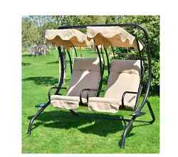 New Outdoor Garden Patio Yard Covered Double Canpy Swing with Frame Furniture