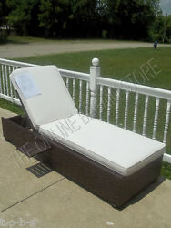 Pottery Barn Corsica Wicker Woven Chaise Lounge Chair Frame w cushion
