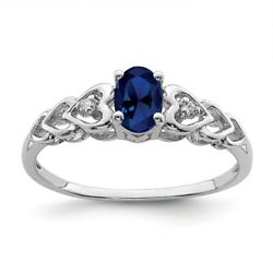 Sterling Silver September Birthstone Created Sapphire & .02 CT Diamond Ring