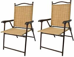 Sling Back Chairs Set 2 Outdoor Patio Fashion Furniture Deck Folding Garden NEW!