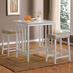 3-Piece White Dining Set Square Table and 2-Stools Kitchen Patio Deck Furniture