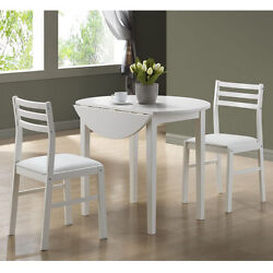 3-Piece Table and 2-Side Chairs Monarch White Dining Set Patio Deck Furnture