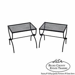 Mid Century Pair of Black Painted Metal X Base Low Patio Tables