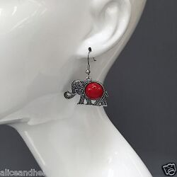 Indie Design Inspired Antique Silver Elephant Red Stone Drop Dangle Earrings