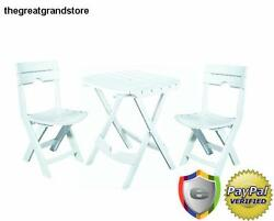 Cafe Dining Set Folding Chairs Patio Garden Furniture Porch Deck Balcony Table