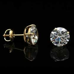 14K Yellow Gold 4Ct Created Diamond Round Stud Screw Back Earrings 8mm $108.00