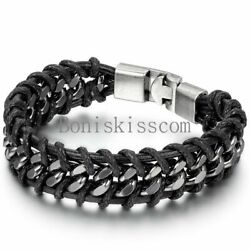 Black Braided Leather Silver Stainless Steel Cuban Chain Men#x27;s Bracelet Bangle $8.99