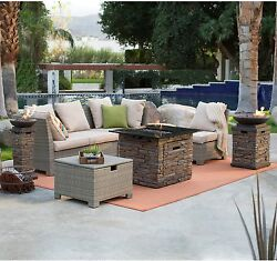 Outdoor Patio Sofa Set Loveseat Sectional Gas Fire Pit Garden Fireplace Table