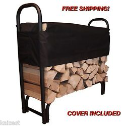 Indoor Firewood Rack Log Holder With Cover Outdoor Storage Steel Fireplace Wood