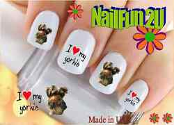 Nail Art 157A DOG BREED Yorkie I Love WaterSlide Nail Decals Transfers Sticker $2.95