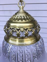 Vintage Chandelier Pendant Ceiling Light Lamp Brass Frosted Cut Glass Shade $195.00