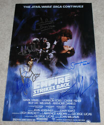 STAR WARS: THE EMPIRE STRIKES BACK SIGNED MOVIE POSTER wCOA X6 GEORGE LUCAS++