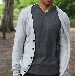 Mens 100% Cashmere Buttoned Cardigan 262 Mongolian Yarn Hand-Knitted © Moksha