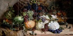 fruit grapes peonies Tile Mural Kitchen Bathroom Wall Backsplash Marble Ceramic