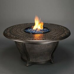 Agio Charleston Gas Fire Pit table with 12 Copper Reflective AnericanFireGlass