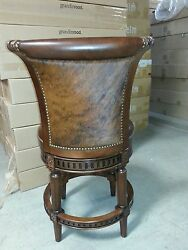 2 Frontgate Hawthorne Kitchen counter BAR Barstool Chair Stool Leather Fur Wood