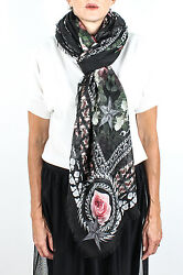 New Auth Givenchy Women's Chain Border Floral Pattern Cashmere Scarf Large