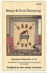 ~ SHEEP AND CROW PENNYRUG ~ Wool Applique Pattern Quilting 11