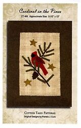 ~ CARDINAL IN THE PINES ~ Penny Rug Wool Applique Pattern by Cotton Tales 9X13