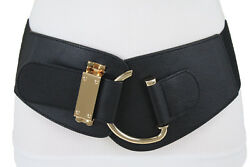 Fun Women Fashion Black Faux Leather Wide Belt Hip Waist Hook Buckle Size M L XL $18.95