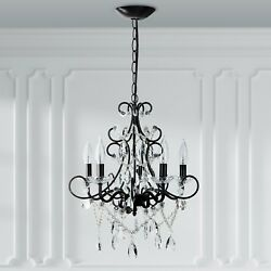 5 Light Crystal Chandelier Plug In Swag Pendant Hanging Lighting Fixture Lamp $134.98