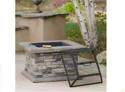 29-in W Outdoor Gray Fiberglass Natural Stone Cement Fire Wood Burning Fire Pit