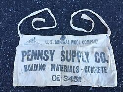 VINTAGE PENNSY SUPPLY NAIL APRON - With Center Grommet - US Mineral Wool Company