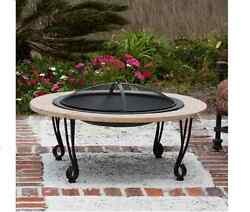 39.01-in W Portable Outdoor Black Porcelain Coated Steel Wood-Burning Fire Pit