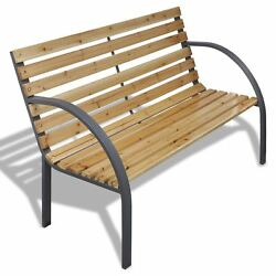 Patio Outdoor Garden Bench Wooden Iron Metal Curved BackArmrests Yard Furniture