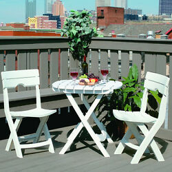 Folding Cafe Bistro Furniture Set Outdoor Garden Patio Compact Table Chair White
