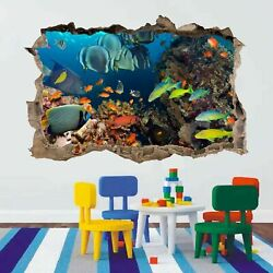 Coral Fishes Sea Aquarium 3D Smashed Wall Art Stickers Kids Bedroom Nursery AC17 GBP 18.99