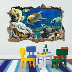 Coral Fishes Aquarium 3D Smashed Wall Art Stickers Kids Bedroom Nursery AC22 GBP 22.99