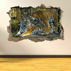 Tigers Wildlife 3D Smashed Wall Art Stickers Kids Bedroom Home Nursery AC28 GBP 18.99