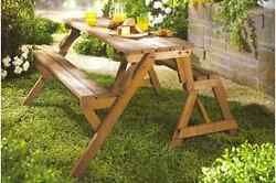 Wooden Picnic Table Garden Bench Combo Interchangeable Yard Furniture Decor