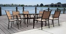 7 Piece Patio Dining Set Garden Table And Outdoor Chairs Modern Deck Furniture