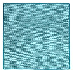 Houndstooth Tweed Indoor Outdoor Square Braided Rug Turquoise ~ Made in USA