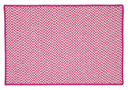 Houndstooth Tweed Indoor Outdoor Braided Rectangle Rug Magenta ~ Made in