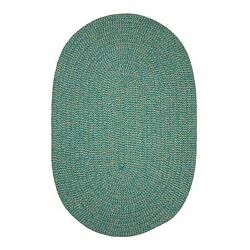 Softex Check Indoor Outdoor Oval Braided Rug Teal & Tan