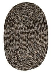 Softex Check Indoor Outdoor Oval Braided Rug Navy Blue & Tan