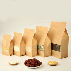 Kraft Paper Stand Up Bags Self Seal Bag With Matte Window Food Grade Pouches $19.99