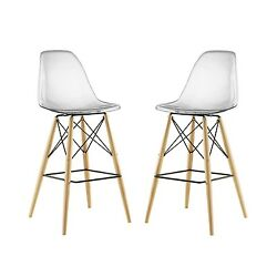Set Of 2 Pyramid Deep Seat Molded Plastic Bar Chair w Wood Legs Clear