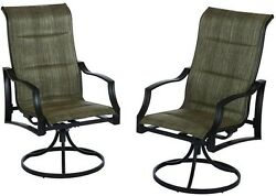 New Outdoor Furniture Padded Sling Swivel Patio Dining 2 Chair Set Steel Bronze