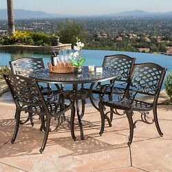 Outdoor Patio Dining Set 5 Piece Cast Aluminum Bronze Round Table 4 Chairs NEW