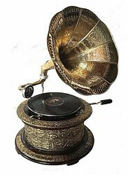 Replica Gramophone Embossed 78 rpm round phonograph Brass Horn HMV Vintage Wind