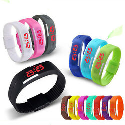 Mens Womens Kids Sports Digital Silicone Rubber LED  Bracelet Wrist Watch $3.99