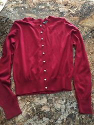 $1295 Dolce & Gabbana RED Cashmere  Pearl Back & Front Dress Cardigan Sz 40