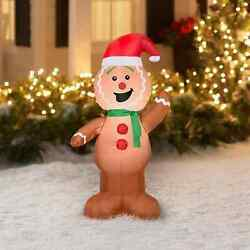 Gingerbread Christmas Lighted Decoration Inflatable Yard Indoor Outdoor Decor 4'