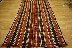 Early Persian Qashqai Wool Textile Kilim Orange Stripes Burgundy Jajim Rug 4x8