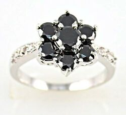 Gorgeous Women's Flower Round Cut Black Sapphire 925 Silver Ring Size 6-10